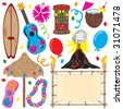 Tiki party elements great for a Hawaiian party!  Individually grouped - stock vector