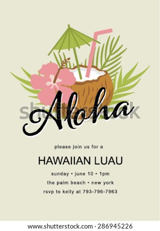 Tiki Party Invitation with coconut drinks - stock vector