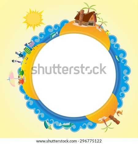 tiki travel summer badge banner business vector background humans and house beach island holiday element - stock vector