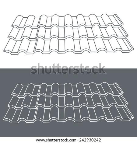 Tile element of roof. Eps10 vector illustration. - stock vector