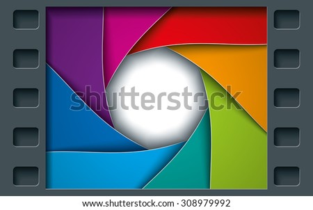 Tile Page with Film Frame and colorful Octagon Diaphragm Blades. Vector photo background with copyspace. - stock vector