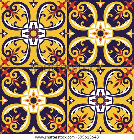Tile pattern vector seamless portugal azulejos stock for Azulejos mexico