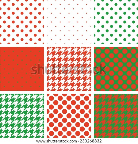 Tile red, green and white vector pattern set with polka dots and houndstooth background