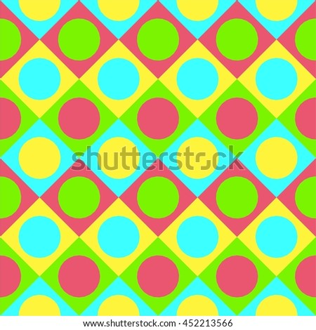 Tile seamless vector pattern with dots and squares