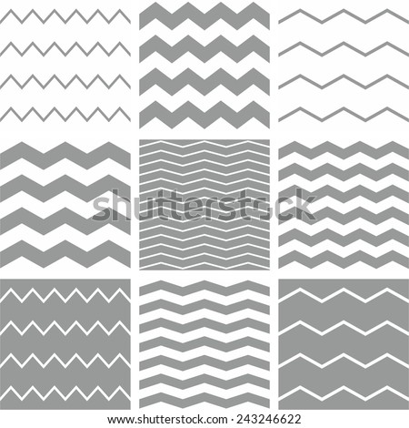 Tile vector chevron pattern set with white and grey zig zag background - stock vector