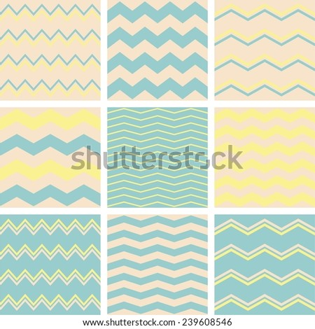 Tile vector pattern set with beige, pastel blue or green and yellow zig zag print background - stock vector