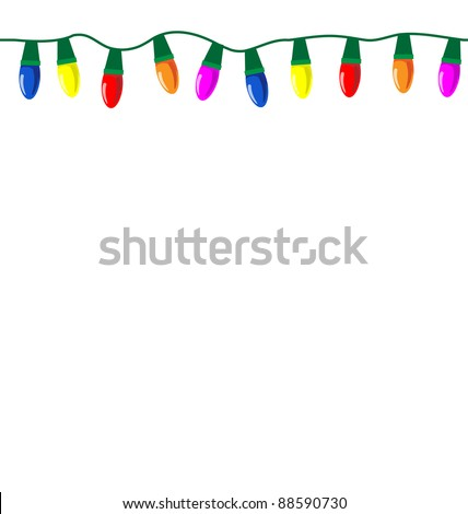 Tileable string of Christmas lights, eps10 vector. Tile horizontally to make as long a string as you need.