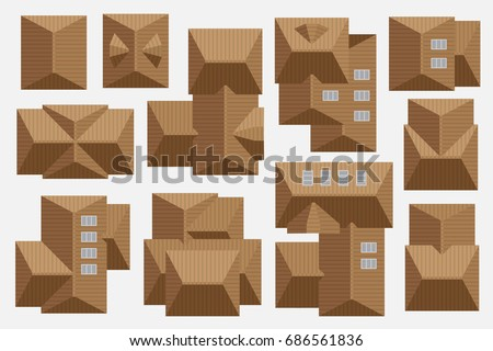 Tiled Roof Of Houses Top View Cityscape Map Or Plan Design Collection