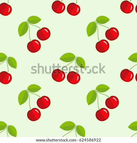 Tiled seamless pattern of red cartoon cherry in modern style. Healthy diet concept food print. Good for textile, wrapping, wallpapers, etc. Vector illustration.