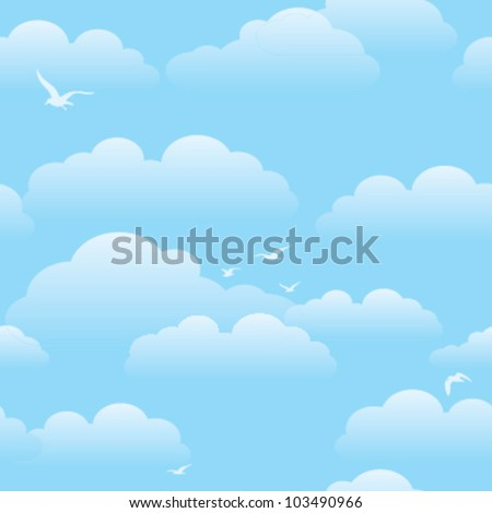 Tiling Blue sky Background with Clouds - stock vector