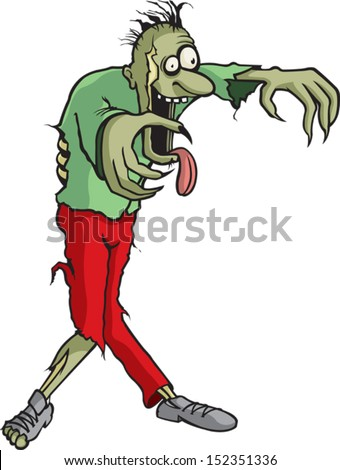 Tim of the Dead A cartoon Zombie whose name is Tim. Vector and high resolution jpeg files available. - stock vector