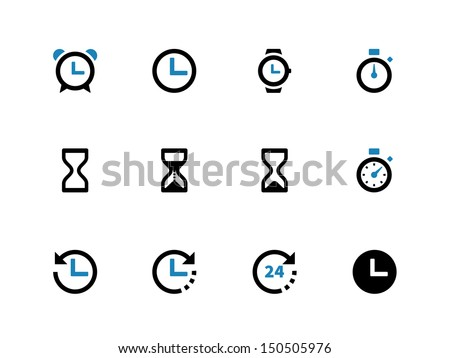 Time and Clock duotone icons on white background. Vector illustration. - stock vector