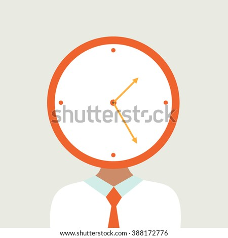 Time and People. Clock. worker - stock vector