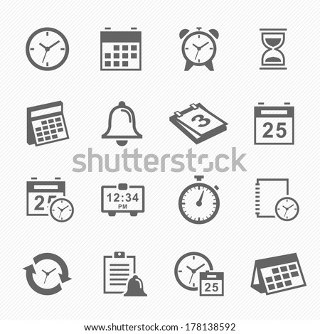 Time and Schedule stroke symbol icons set. Vector Illustration. - stock vector