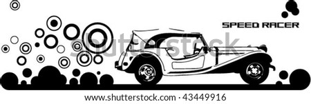 Time car illustration - stock vector