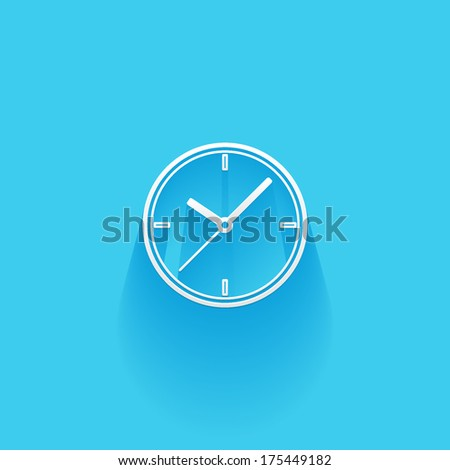 time, clock, flat icon isolated on a blue background for your design, vector illustration - stock vector