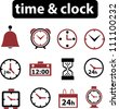 time & clock icons set. vector - stock vector