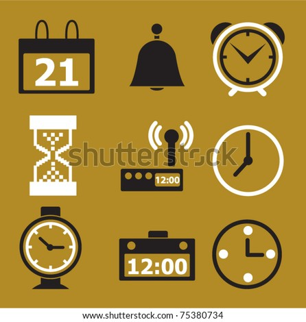 time & clock icons, signs, vector illustations - stock vector
