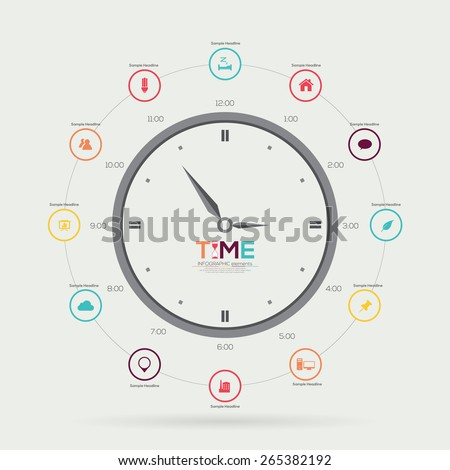 Time Clock Infographic. Vector illustration - stock vector