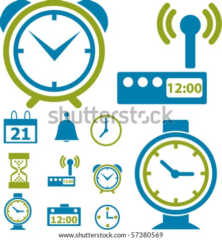time & clock signs. vector - stock vector