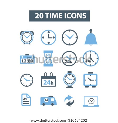 time, clocks icons - stock vector