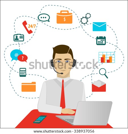 Time 24 customer support center operator. Vector - stock vector