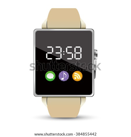 Time display of the Smart watch illustration on white background - stock vector