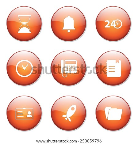 Time Duration Orange Vector Button Icon Design Set