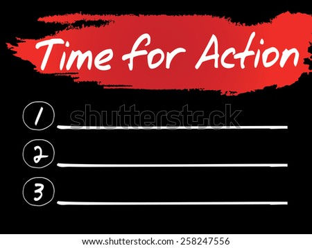 Time for Action Blank List, vector concept background - stock vector