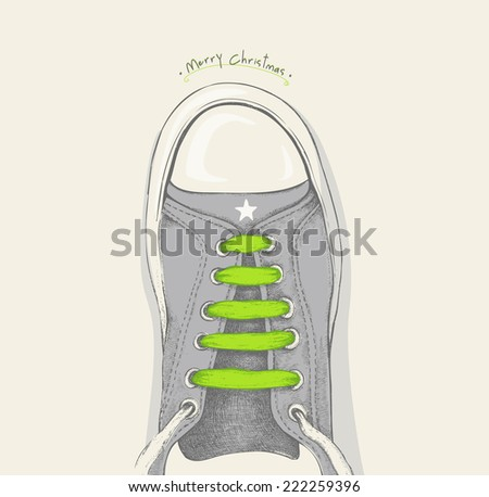 Time for Christmas. Green shoelace - stock vector