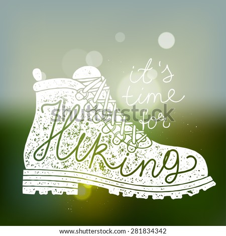 time for hiking calligraphy. hiking handwritten sign. vector illustration - stock vector