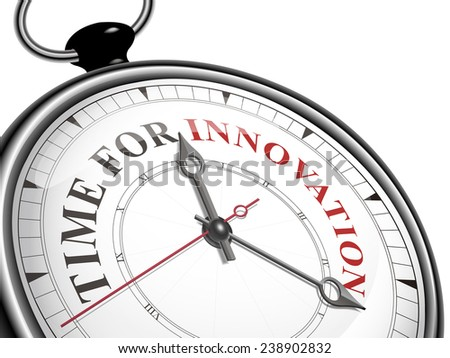 time for innovation concept clock isolated on white background - stock vector