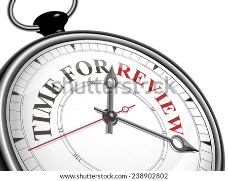 time for review concept clock isolated on white background - stock vector