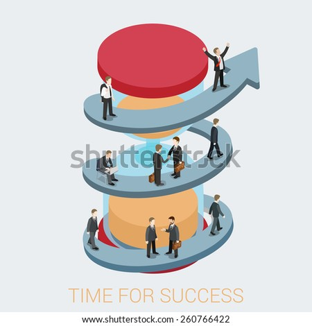Time for success flat 3d web isometric infographic business concept vector. Arrow pathway road enlace sand timing schedule hourglass and walking businessmen. Creative people collection. - stock vector
