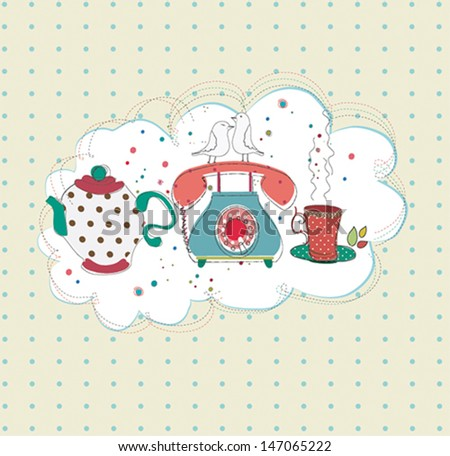Time for tea print design - stock vector