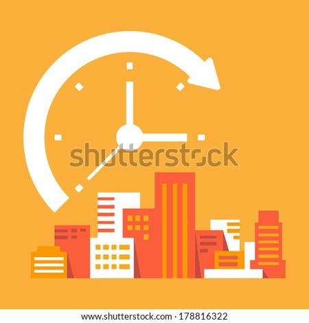 time goes on in the city - stock vector