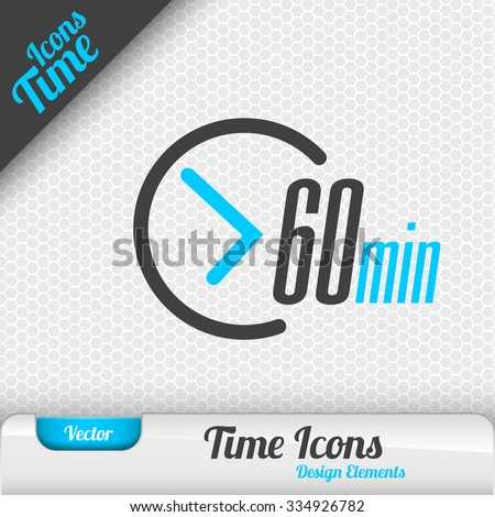 Time icon on the gray background. 60 minutes symbol. Vector design elements.