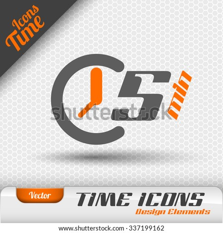 Time icon on the gray background. 5 minutes symbol. Vector design elements. - stock vector