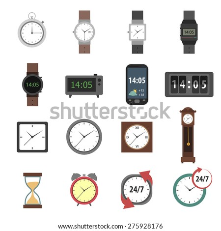 Time icons flat set with modern and classic watches clocks isolated vector illustration - stock vector