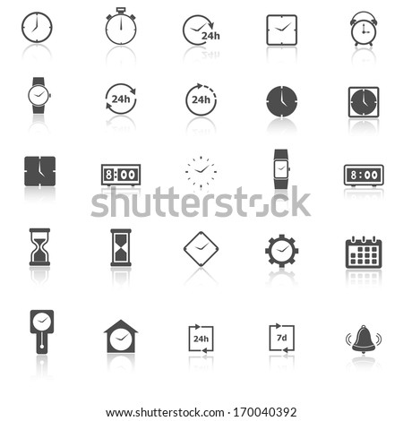 Time icons on white background, stock vector - stock vector