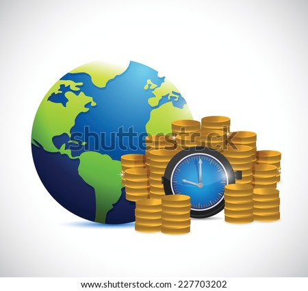 time is money around the globe. illustration design over a white background