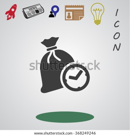 Time is Money , bag and time icon - stock vector