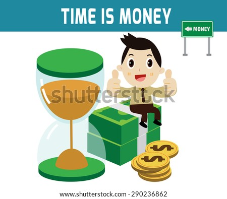 time is money. businessman sitting on the money dollar.