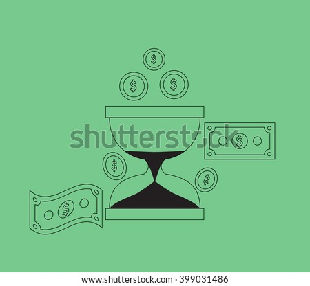 Time is money concept. Hourglass coins. Business currency and clock, dollar saving, watch and cash, sandwatch and monetary. Time management vector illustration. Black thin line on green background - stock vector