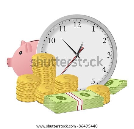 Time is money concept with clock, piggy bank, dollar banknotes and coins. Vector eps10 illustration