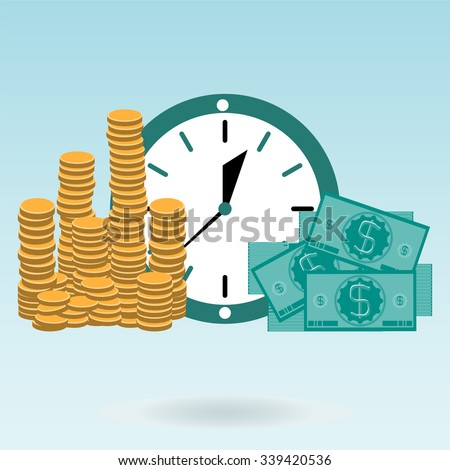 Time is money. Gold coins and dollar bills on the clock. - stock vector