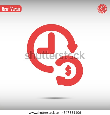 time is money, line vector icon - stock vector