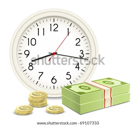 Time is money. Office Clock and Money. Banknotes and coins. - stock vector