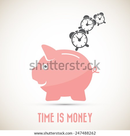 Time is money - piggy bank - Eps10 vector.All elements (background,icon,text) in separate layers.Fully and easy editable. - stock vector
