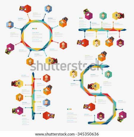 Time line infographic set of human icons. Vector illustration symbols set. - stock vector